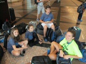 Campers waiting in airport